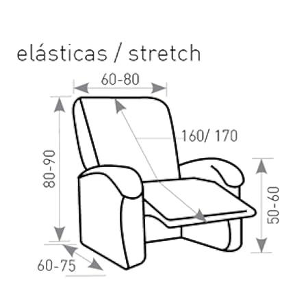 Jarrous Funda de Sillón Relax Completo Elástica Modelo Arucas, Color Beige-2, Medida 60-80cm Respaldo