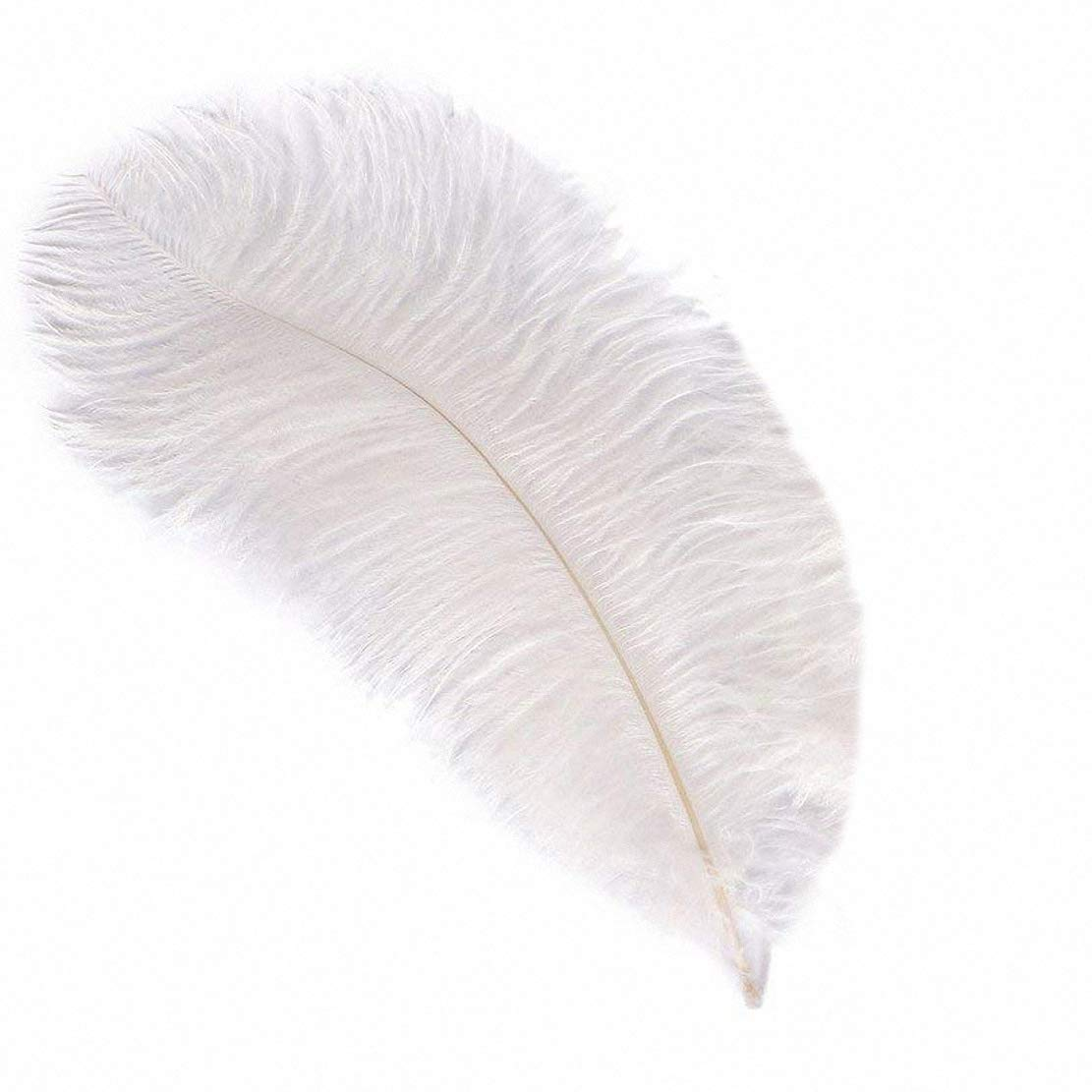 100pcs Natural Ostrich Feathers Plume Wedding Centerpieces Home Wall Decoration (White, 16-18inch (40-45cm))