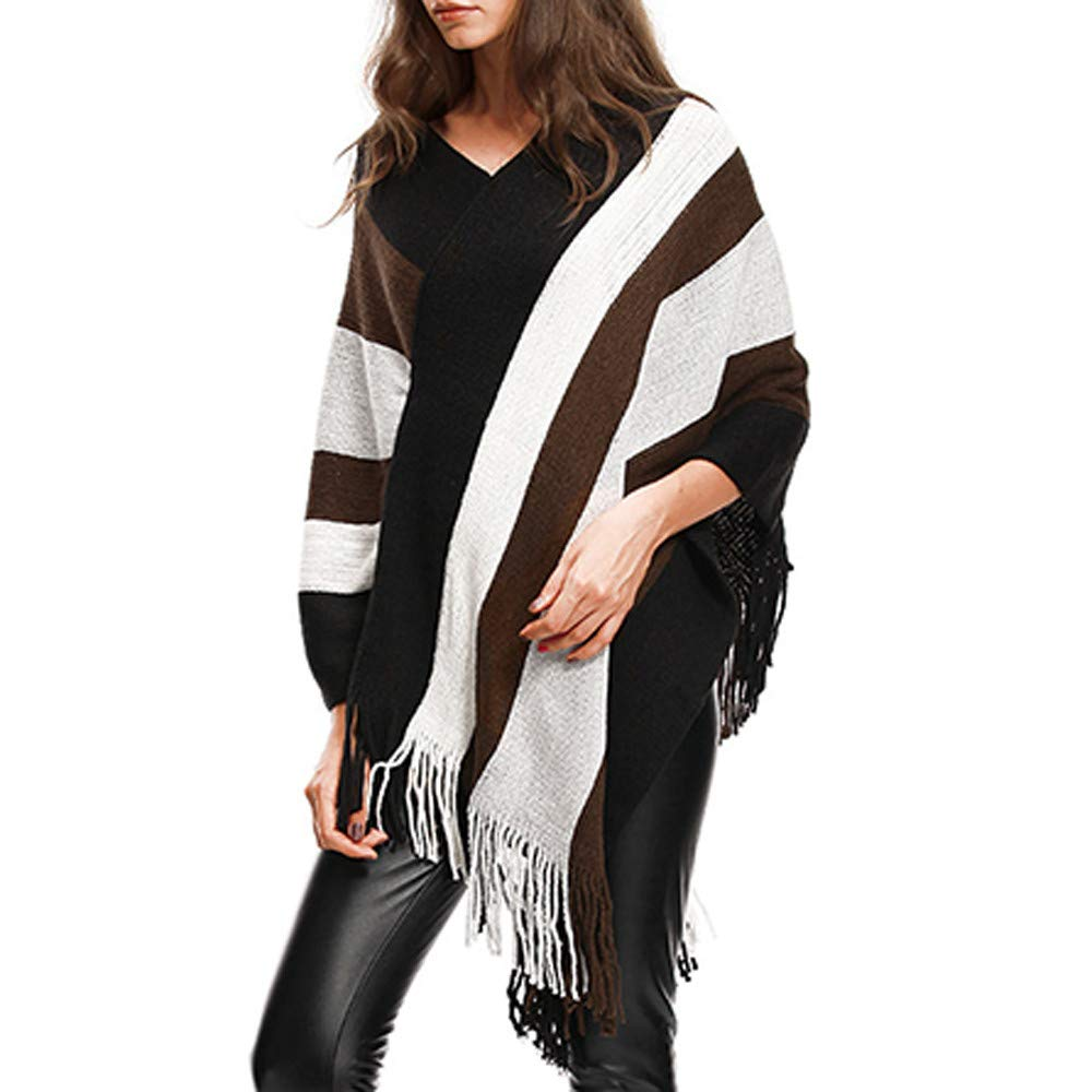 CUCUHAM Womens V-Neck Stripe Tassels Cloak Plus Size Sweater Easy Blouse Tops CUCUHAM-SHIRT.N0.6