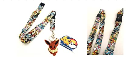 Pokemon Characters Buckle Lanyard Keychain Holder with Eevee Rubber Charm