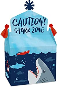 Big Dot of Happiness Shark Zone - Treat Box Party Favors - Jawsome Shark Party or Birthday Party Goodie Gable Boxes - Set of 12