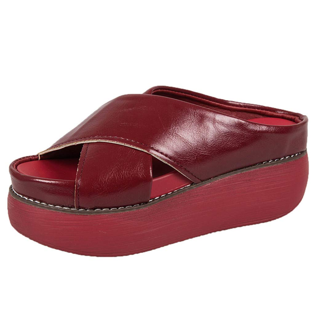 Fastbot Women's Summer Sandals Open Toe Casual Comfort Slip-On Flat Peep Toe Breathable Rome Platform Shoes Red