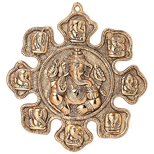 Jaipuri Haat Ganesha Astavinayaka ( 8 Avatar of Lord Ganesh) hanging in Gold Finish Ideal for Gift