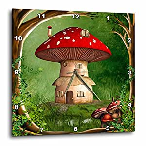 3dRose A Dwarf House Hidden in The Forest with A Frame of Trees and Mushrooms - Wall Clock, 10 by 10-Inch (dpp_181735_1)