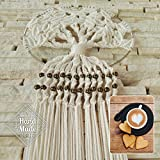 Dream Catchers White Cotton Macrame Knitted with TREE of LIFE theme, LARGE SIZE (37.4'' length x 9.84'' diameter) Wall Hanging Home Decoration Boho Ornament Decor + 2 COASTERS PAD for drinks as a GIFT