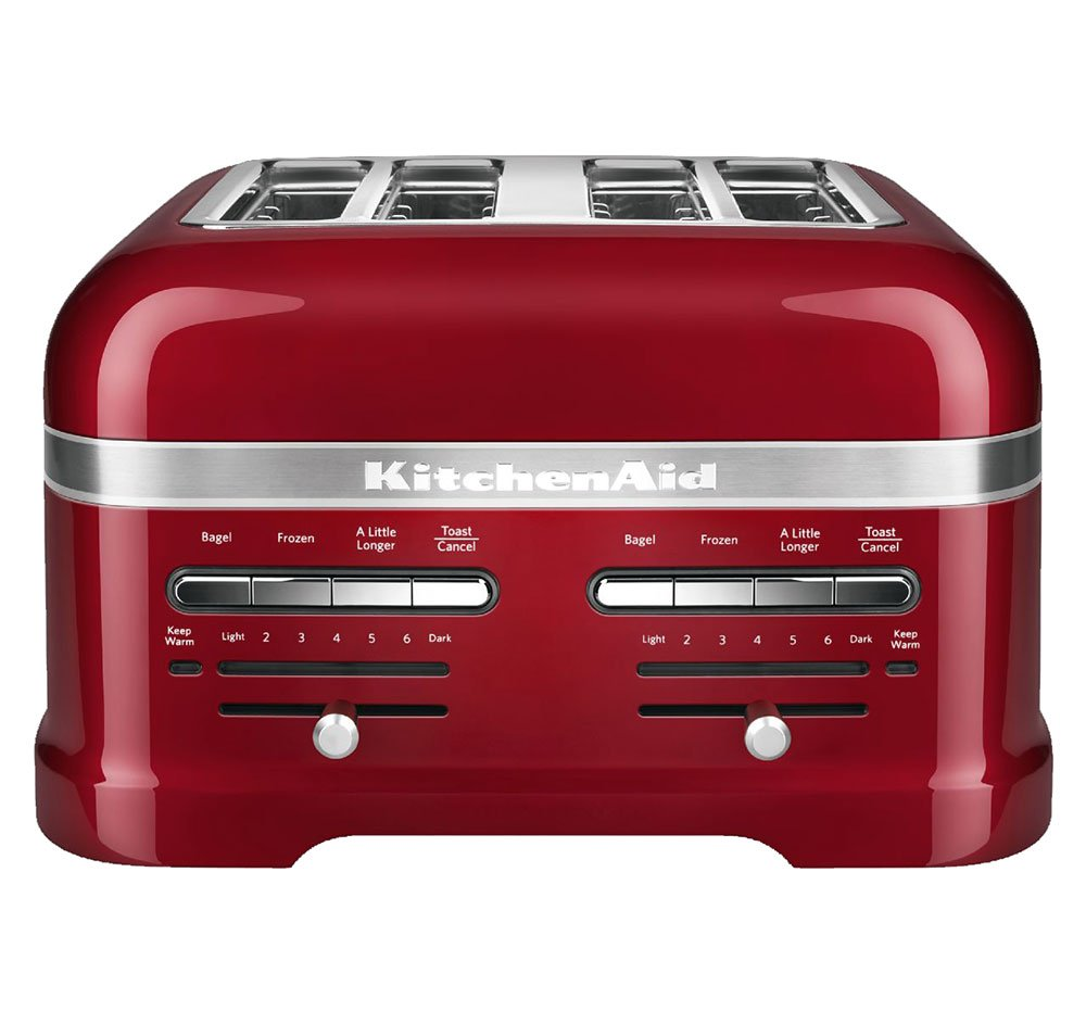 7. KitchenAid KMT4203CA Candy Apple Red 4-Slice Pro Line Toaster