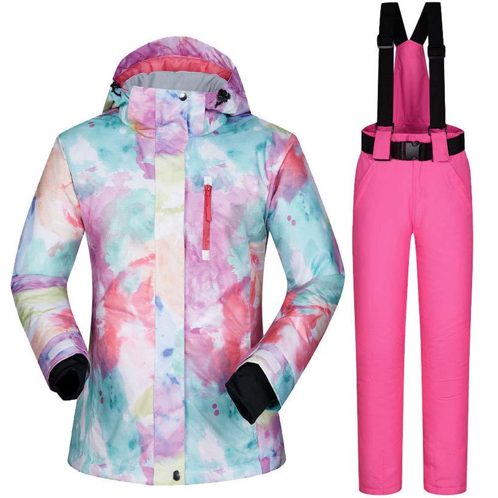 女性のスキースーツスノーボードの服防水スキージャケット+パンツ B07H2ZGJZK Medium|ピンク ピンク Medium