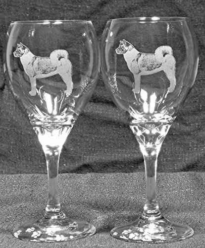 Akita Dog Laser Etched Wine Glass Set (2, TDW) For Sale