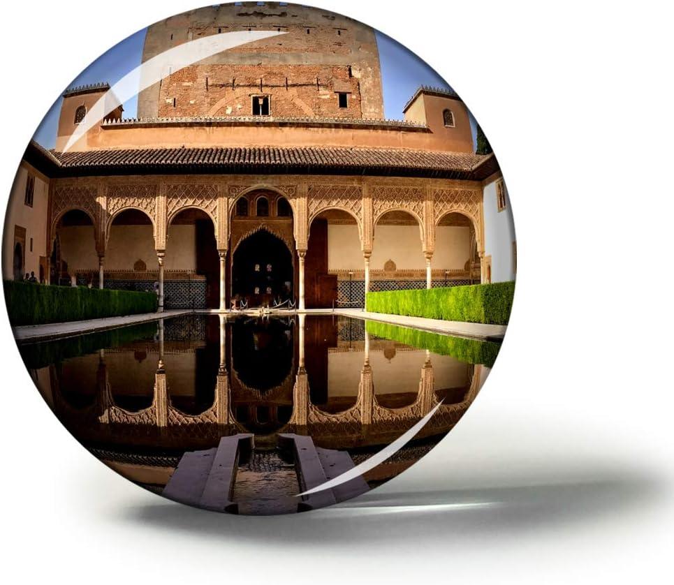 Hqiyaols Souvenir España Alhambra Granada Imanes Nevera Refrigerador Imán Recuerdo Coleccionables Viaje Regalo Circulo Cristal 1.9 Inches: Amazon.es: Hogar