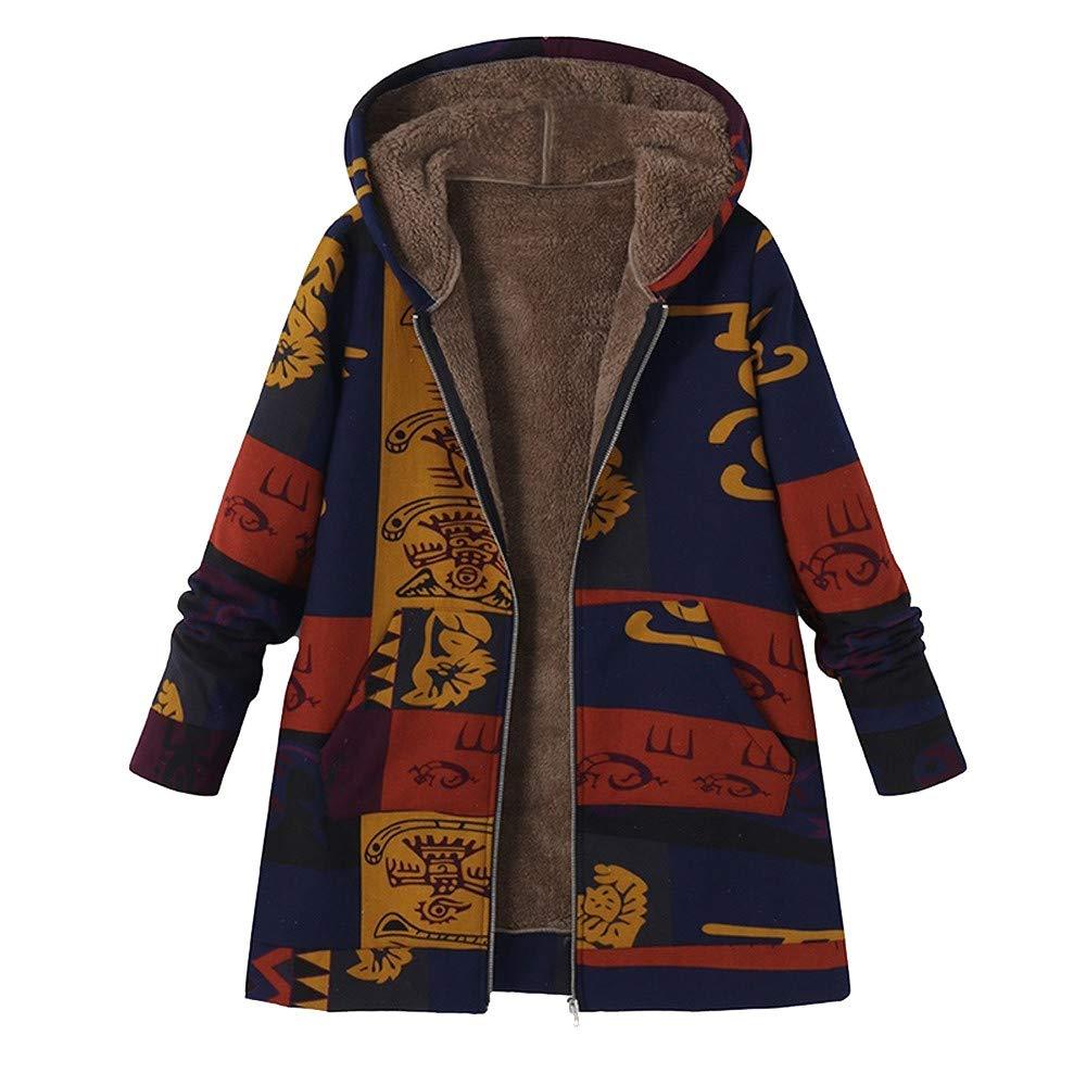 WatFY Overcoat Women Warm Thicker Coat Winter Hooded Long Sleeve Blouse Cotton Linen Jacket Faux Fur Surcoat Outerwear(Blue,L) by WatFY