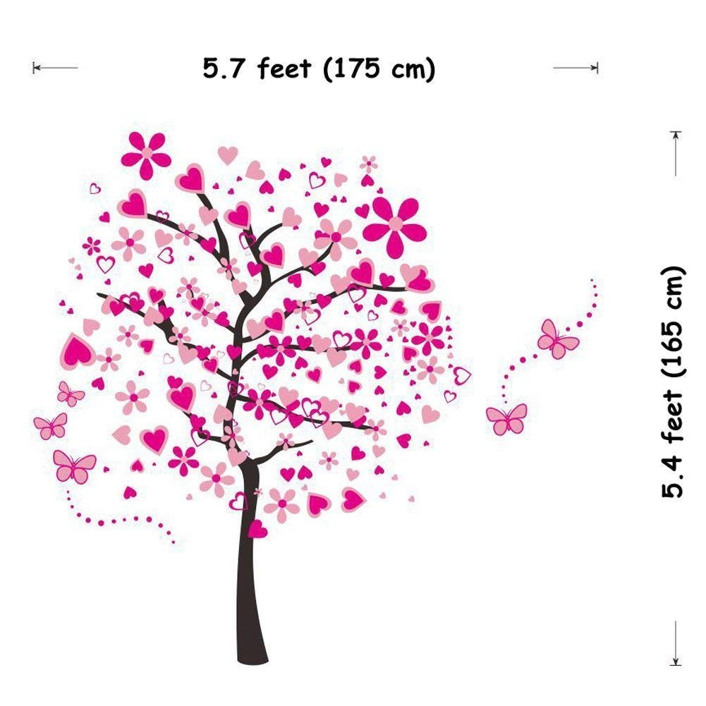 ElecMotive Huge Size Cartoon Heart Tree Butterfly Wall Decals Removable Wall Decor Decorative Painting Supplies /& Wall Treatments Stickers for Girls Kids Living Room Bedroom Wallpops