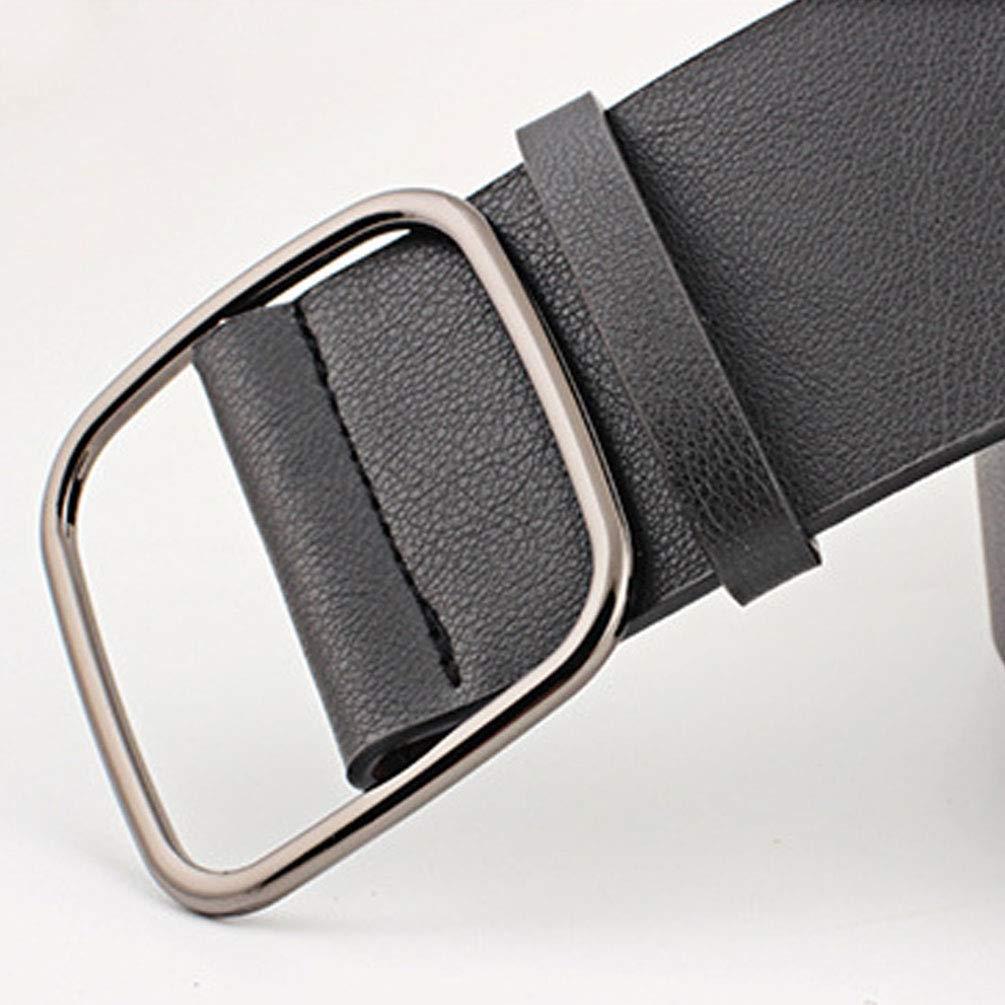 Women Wide Faux Leather Belt Waist Dress Accessory with Metal Alloy Buckle