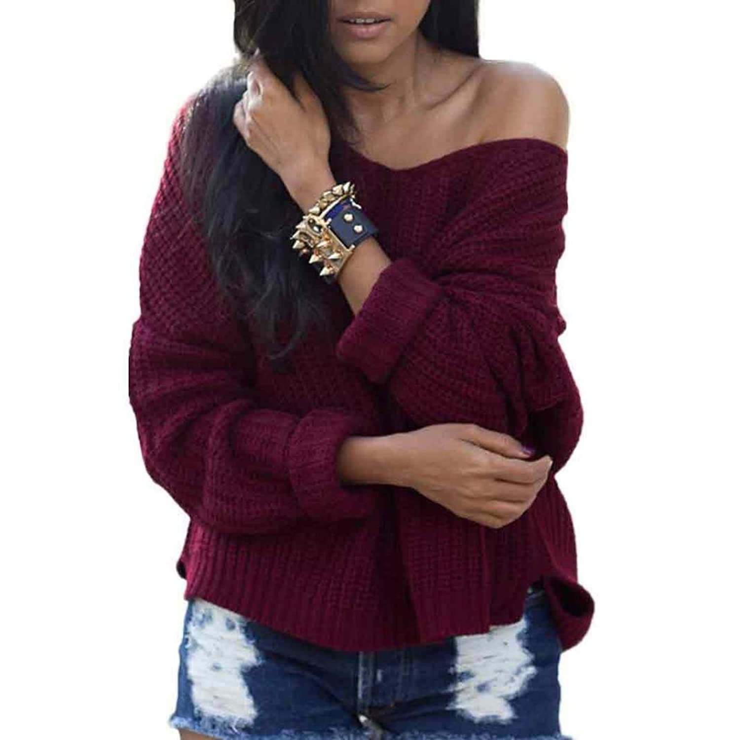 Besde Womens Ladies Pullover Off the Shoulder Loose Sweaters Pullover Jumper Top outwear