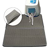 Cat Kitty Litter Trapping Mat - Double Layer Honeycomb Extra Large Size ( 30 x 23in ) Detachable Litter Trapper Mat, Waterproof and Non-slip for Cats Litter Catching & Scatter Control, Gray