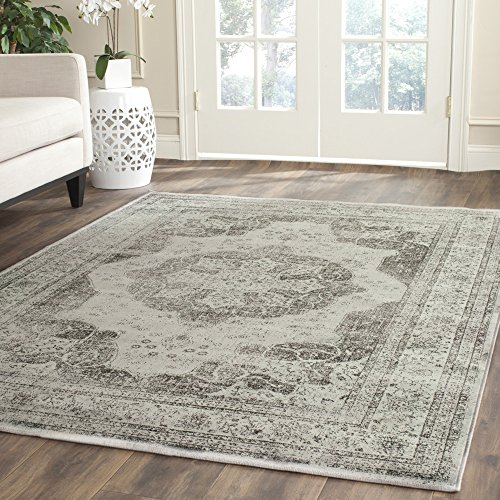 Safavieh Vintage Premium Collection VTG158-770 Transitional Oriental Medallion Grey and Multi Distressed Silky Viscose Square Area Rug (8' Square) - Transitional 8' Square Rug