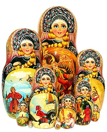 Russian Fairytale 10 Piece Black Nesting Doll Exclusive One-of-a-kind Babushka Signed By Artist.