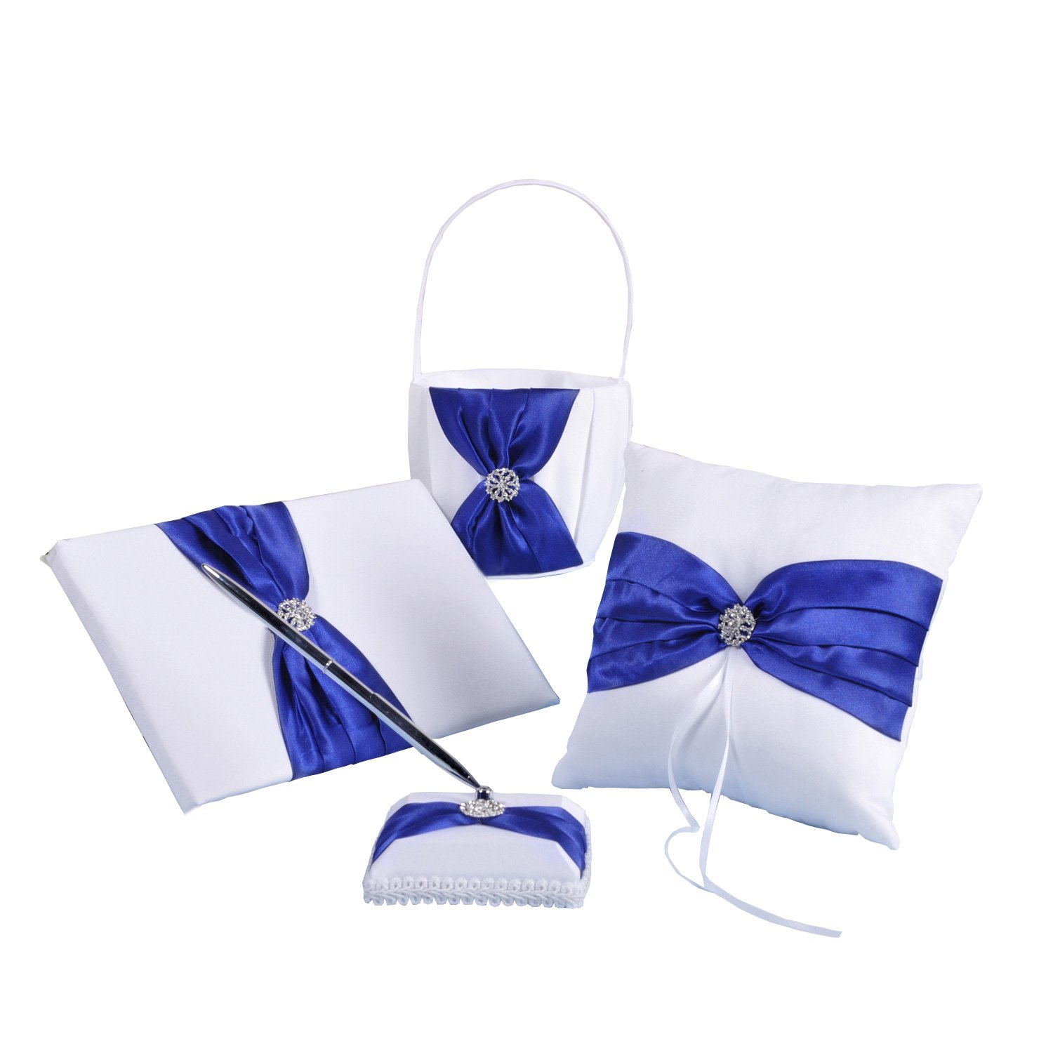 Royal Blue Satin Bow Ceremony Collection Guest book & pen set Flower Basket Ring Pillow by Adorona