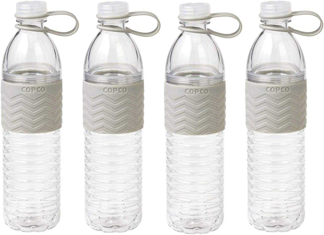Copco Hydra Reusable Tritan Water Bottle with Spill Resistant Lid and Non-Slip Sleeve 4 Pack