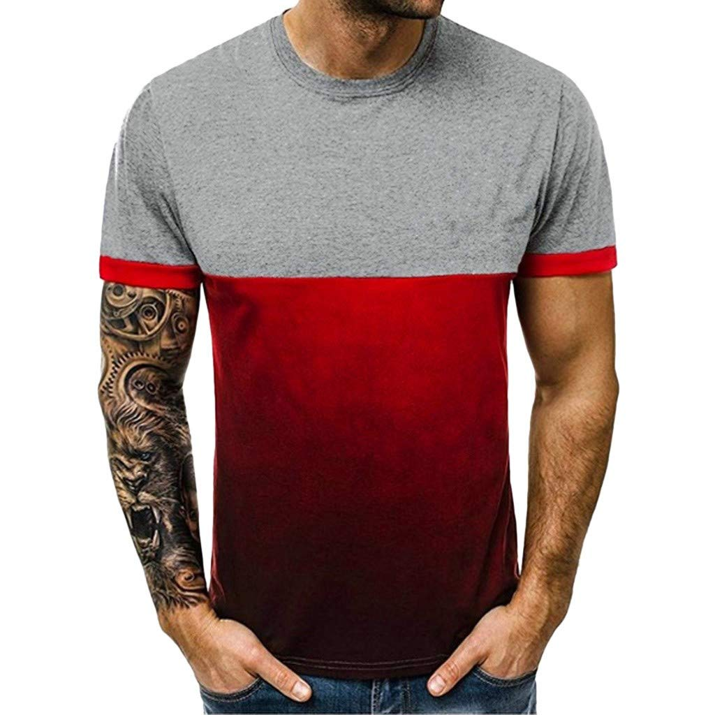 Winsummer Tops Men Gradient Color Short-Sleeve Beefy Muscle Basic Solid Blouse Tee Shirt Gray