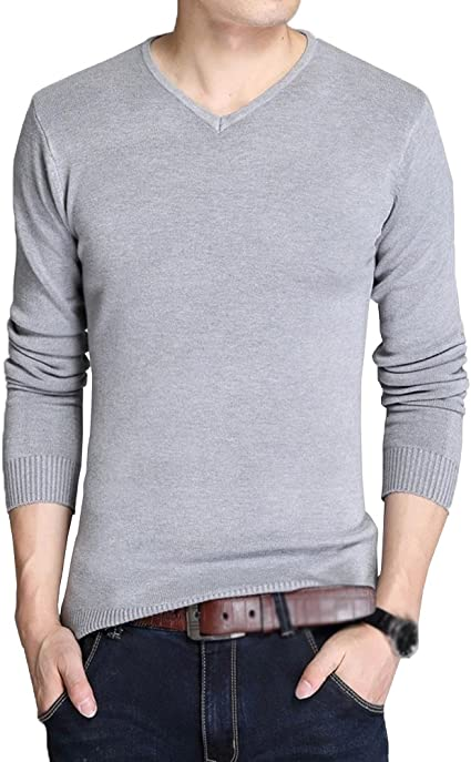 Freedi Mens Sweater Knitted Long Sleeve Slim V-Neck Pullover Comfortably Warm Solid Color