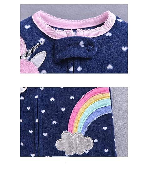 0-3 Monate Baby Fleece Overall Neugeborenen Jungen M/ädchen Vlies Strampler Langarm Schlafanzug Einhorn Spielanzug Warmer Body