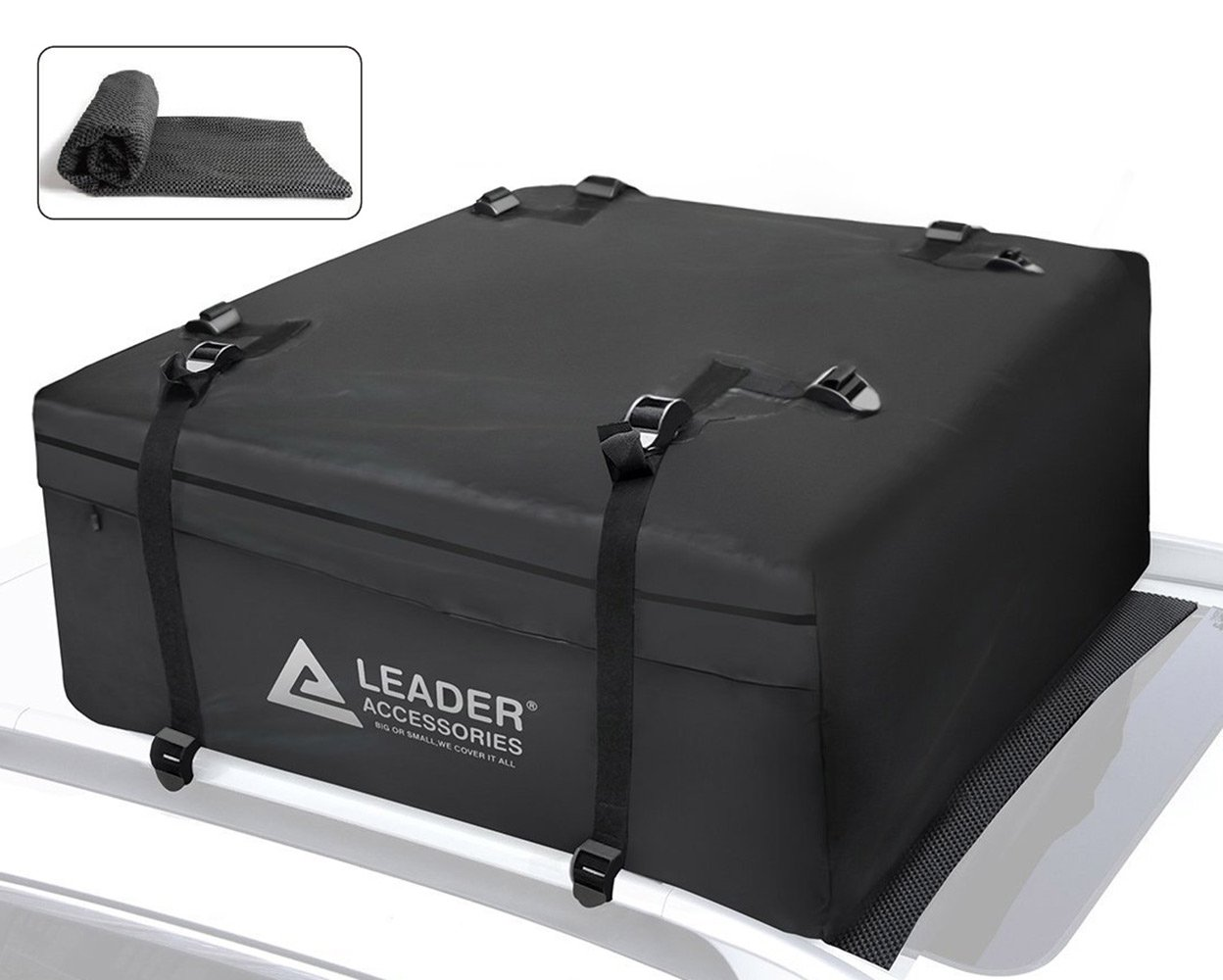 Leader Accessories 15 Cubic Feet Rooftop Cargo Bag Waterproof Cargo Carrier With Racks Heavy Duty Top Storage With Anti-slip Mat by Leader Accessories