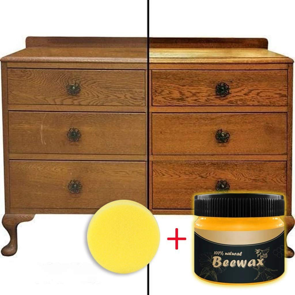 Wenini Natural Wood Seasoning Beeswax Complete Solution Furniture Care Beeswax Home Cleaning Cleaner and Protector Wax. Renew Cutting Boards, Woods, Bamboo, Wooden Surfaces (with Scrub Sponges)