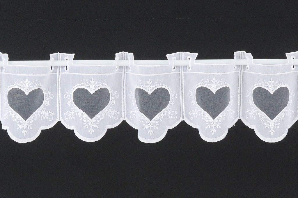 Curtain half-curtain embroidered with heart 18 cm high | Width freely selectable in 15,5 cm steps via quantity purchased | Colour: White | Net curtains cafe kitchen