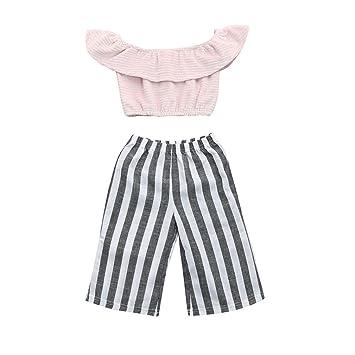 LuckyGirls Bebé Niñas Camisetas Cuello Barco Color Sólido Bandeau Hombros Descubiertos Blusa Camisas + Pantalón a