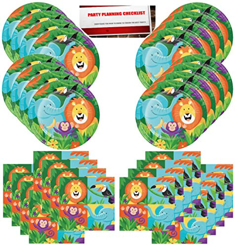 Jungle Animals Lion Elephant Monkey Safari Birthday Party Supplies Bundle Pack for 16 Guests (Plus Party Planning Checklist by Mikes Super Store) -