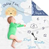 Double Sided Monthly Baby Milestone Blanket- Month Blanket for Baby Pictures | Photo Blanket with Baby Photo Props…