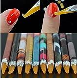 Self Adhesive Resin Rhinestones Picker Pencil 10Pcs Nail Art Gem Crystal Pick up Tool Wax Pen Long