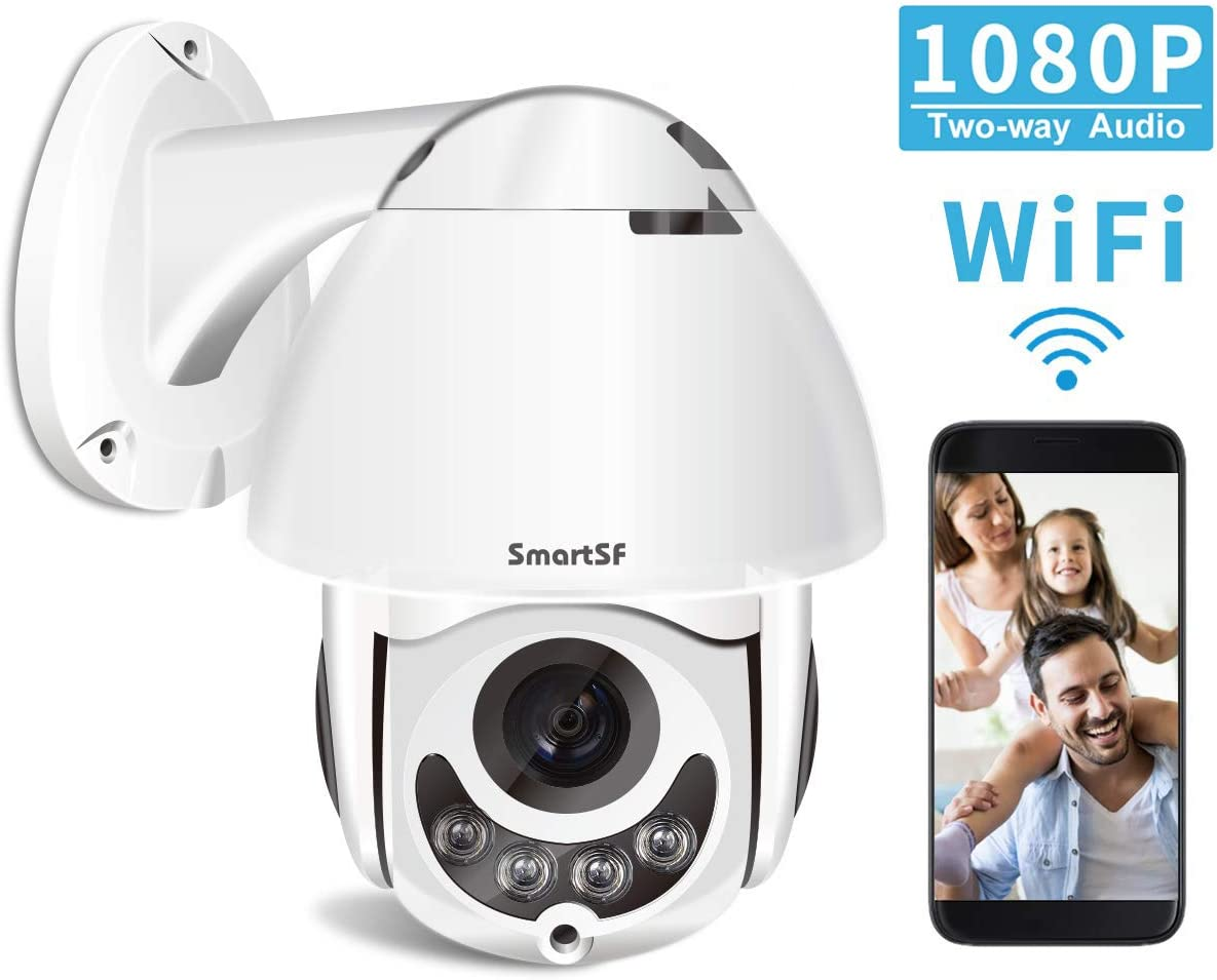 2020 Upgrade PTZ Camera Outdoor,1080P Full HD 360 Wireless Home Security Camera,2 Way Audio,Night Vision, Motion Detection, Support iOS Android Windows Mac, SD Card Slot