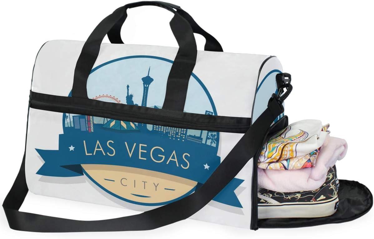 Travel Duffel Bag LAS VEGAS Building Waterproof Lightweight Luggage bag for Sports Vacation Gym