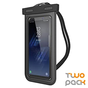 """Trianium (2Pack) Universal Waterproof Case, Cellphone Dry Bag Pouch w/ IPX8 for iPhone X 8 7 6s 6 Plus, SE 5s 5c 5, Galaxy s9 s8 s7 s6 edge, Note 5 4,LG G6 G5,HTC 10,Nokia, Pixel up to 6.0"""" diagonal"""