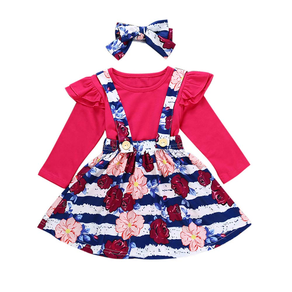 2018 New!!3Pcs Toddler Infant Clothing Set,Baby Girls Solid Ruffle Tops Floral Strap Skirt (6-12 Months, Hot Pink)