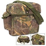 Cheap British Military Issue Camo Gas Mask Bag – Used – Heavy-Duty Nylon, Belt Loop, Shoulder Strap, Internal Pockets