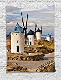 ajnxcid Windmill Decor Tapestry, Medieval Spain Windmills in Consuegra Old Historical Landmark, Wall Hanging for Bedroom Living Room Dorm, 60 W X 80 L Inches, Blue White Light Brown