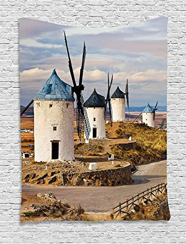 ajnxcid Windmill Decor Tapestry, Medieval Spain Windmills in Consuegra Old Historical Landmark, Wall Hanging for Bedroom Living Room Dorm, 60 W X 80 L Inches, Blue White Light Brown by ajnxcid