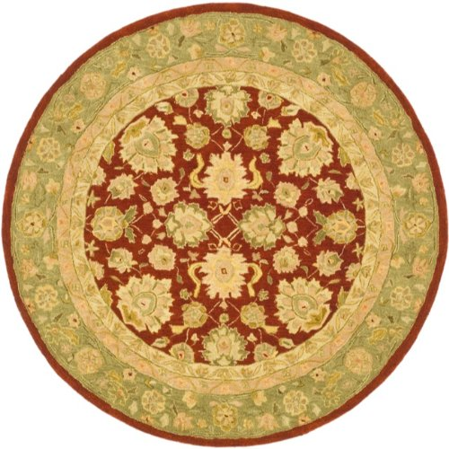 8 Moss Area Rug Round - Safavieh Anatolia Collection AN522D Handmade Traditional Oriental Red and Moss Wool Round Area Rug (8' Diameter)