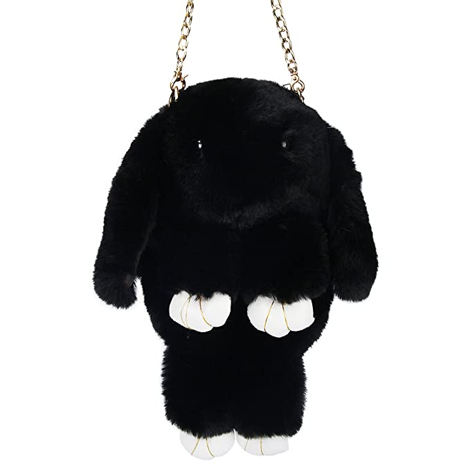 863b09159 Image Unavailable. Image not available for. Color: Evaliana Bunny Faux  Rabbit Fur Crossbody Handbag ...