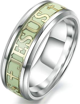 Unbekannt Fashion Luminous Christen Jesus Kreuz Ring Glow in Dark Titan Edelstahl fluoreszierend Ring Ornaments Geschenk für Herren Damen Ring