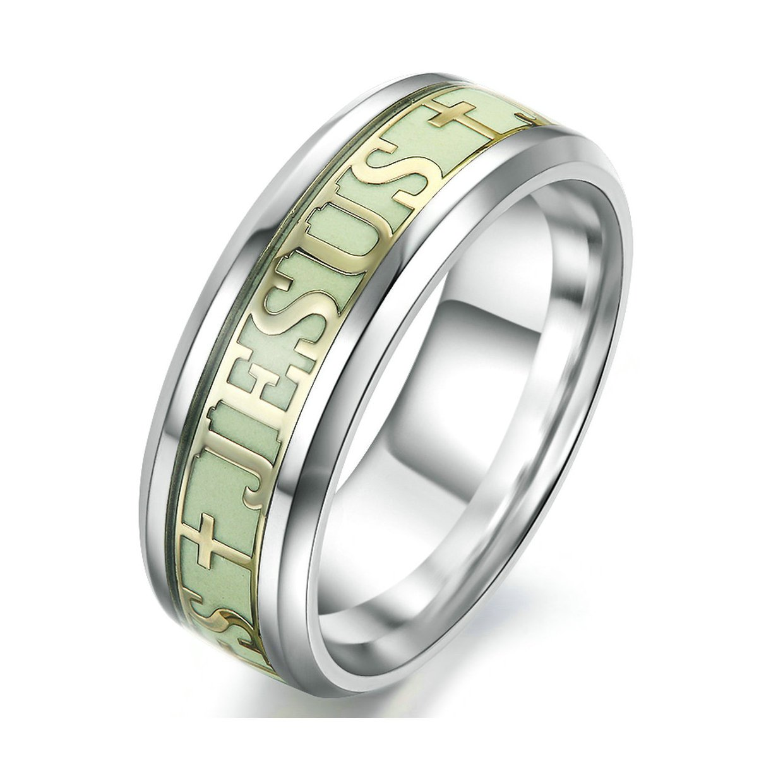 fashionlife2018 Luminous Christians Jesus Cross Ring Glowing Titanium Fluorescent Ring Ornaments Gift For Men Women Ring