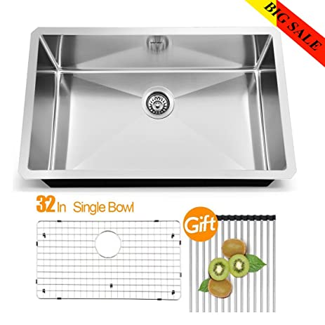 vapsint jzx005s modern commercial 32 inch drop in stainless steel single bowl undermount kitchen sinks