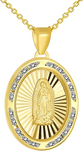 14k White And Yellow Gold Religious Guadalupe Pendant Charm