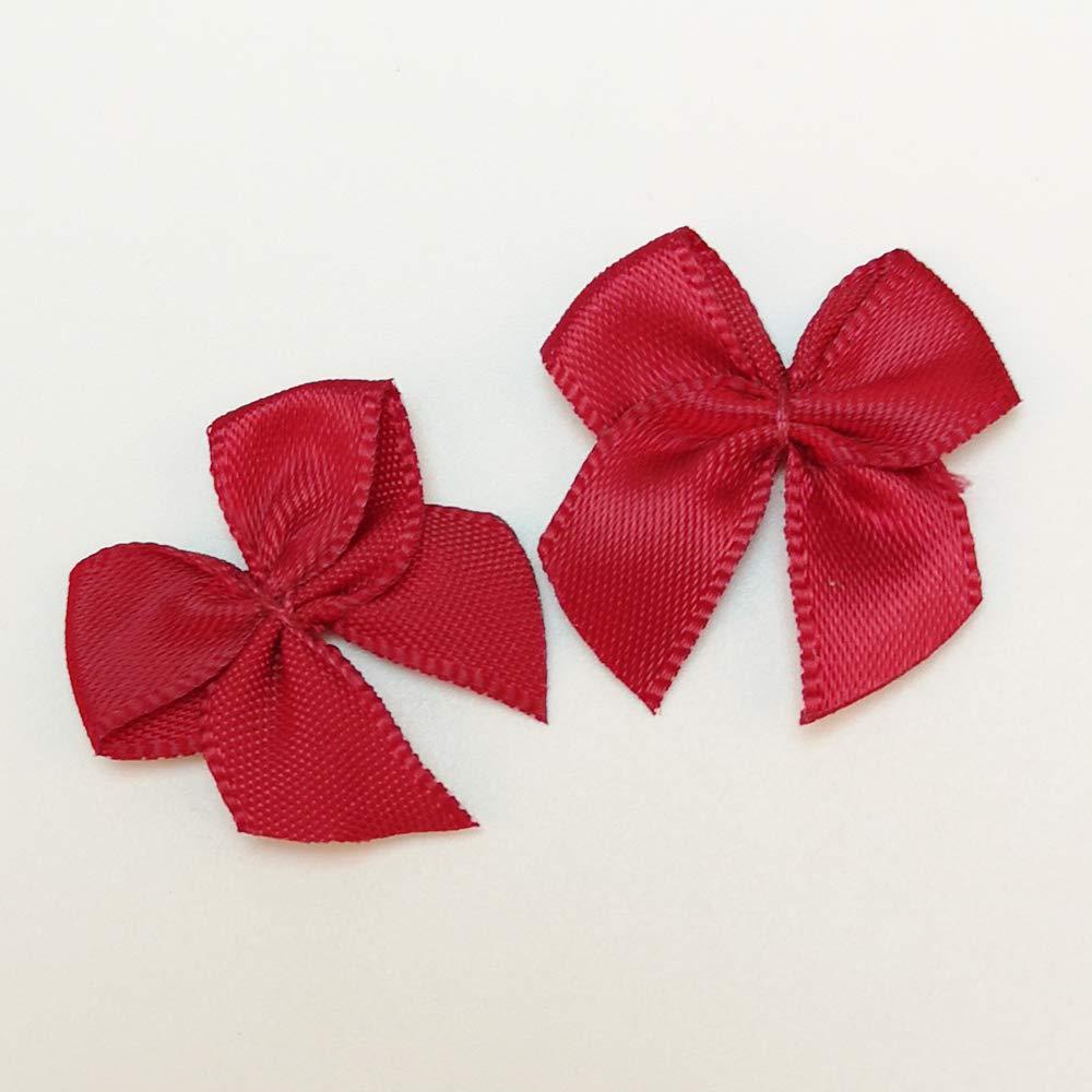 Chenkou Craft 60pcs Mini Satin Ribbon Bows DIY Craft Red Color