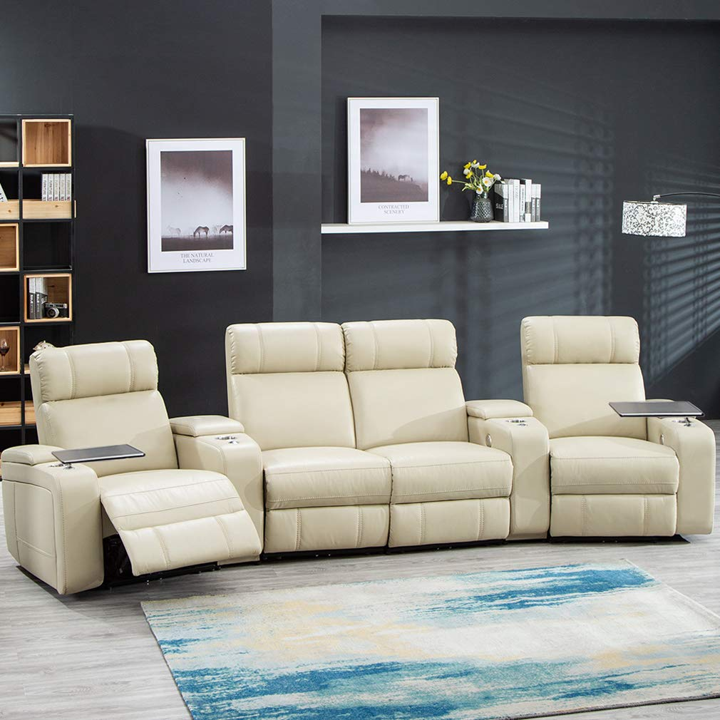 Home Theater Seating Reclining Power Sofa Theater Recliner Sectional Sofa with Storage and Cup Holders by FDW