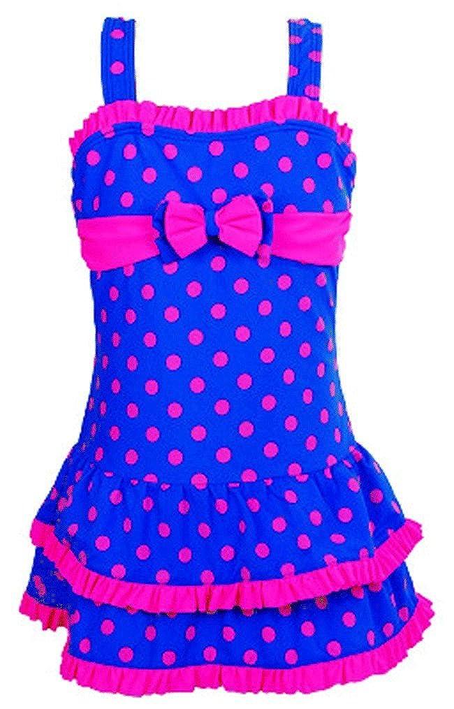 Pointss Girls' Swimsuit Bathing Suit One Piece Beach Swimwear (Medium, Blue)