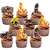 Firefighter Party Pack, 36 Cup Cake Toppers - Edible Stand Up Decorations by AKGifts