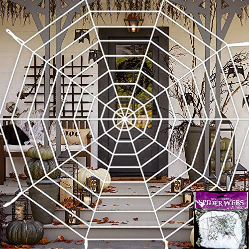 FUNISFUN 12 Feet Halloween Giant 7 Round Spider Web with 20g Stretch Cobweb Set, Mega Spiderweb House Party Outdoor Yard Decor Decorations]()